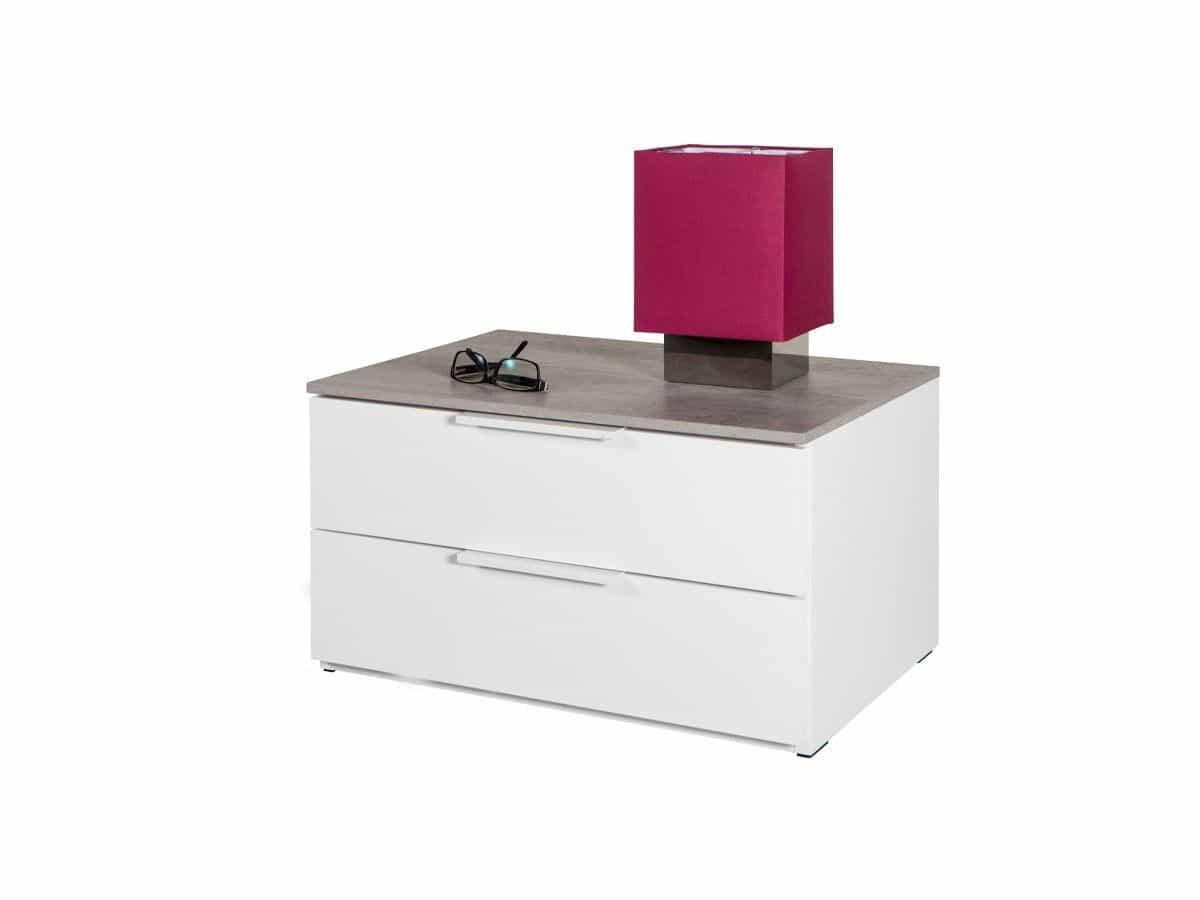 Nachttisch weiß hochglanz 60 cm x 45 cm - GALAVERNA