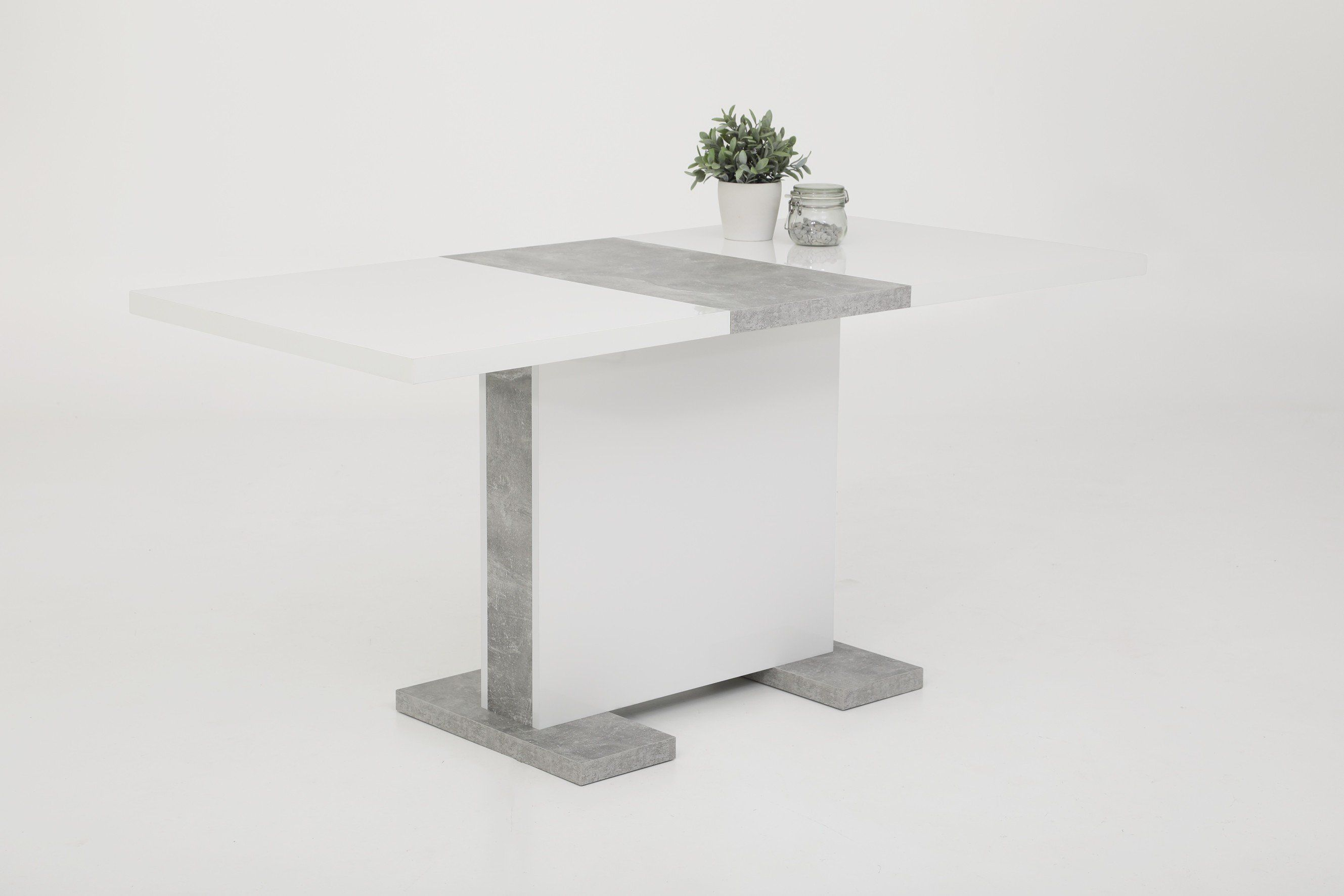 Esstisch 120 - 160 cm ausziehbar Weiß Betonoptik - TAMARA