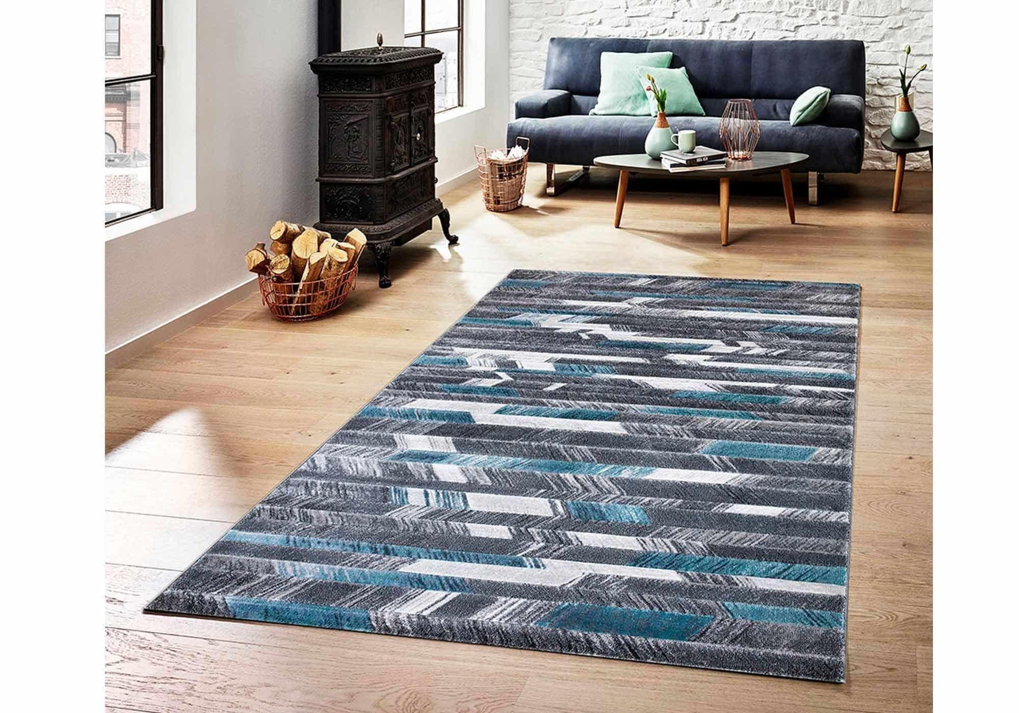 Teppich 80 x 150 cm - blau - Kurzflor - rechteckig - Mykonos