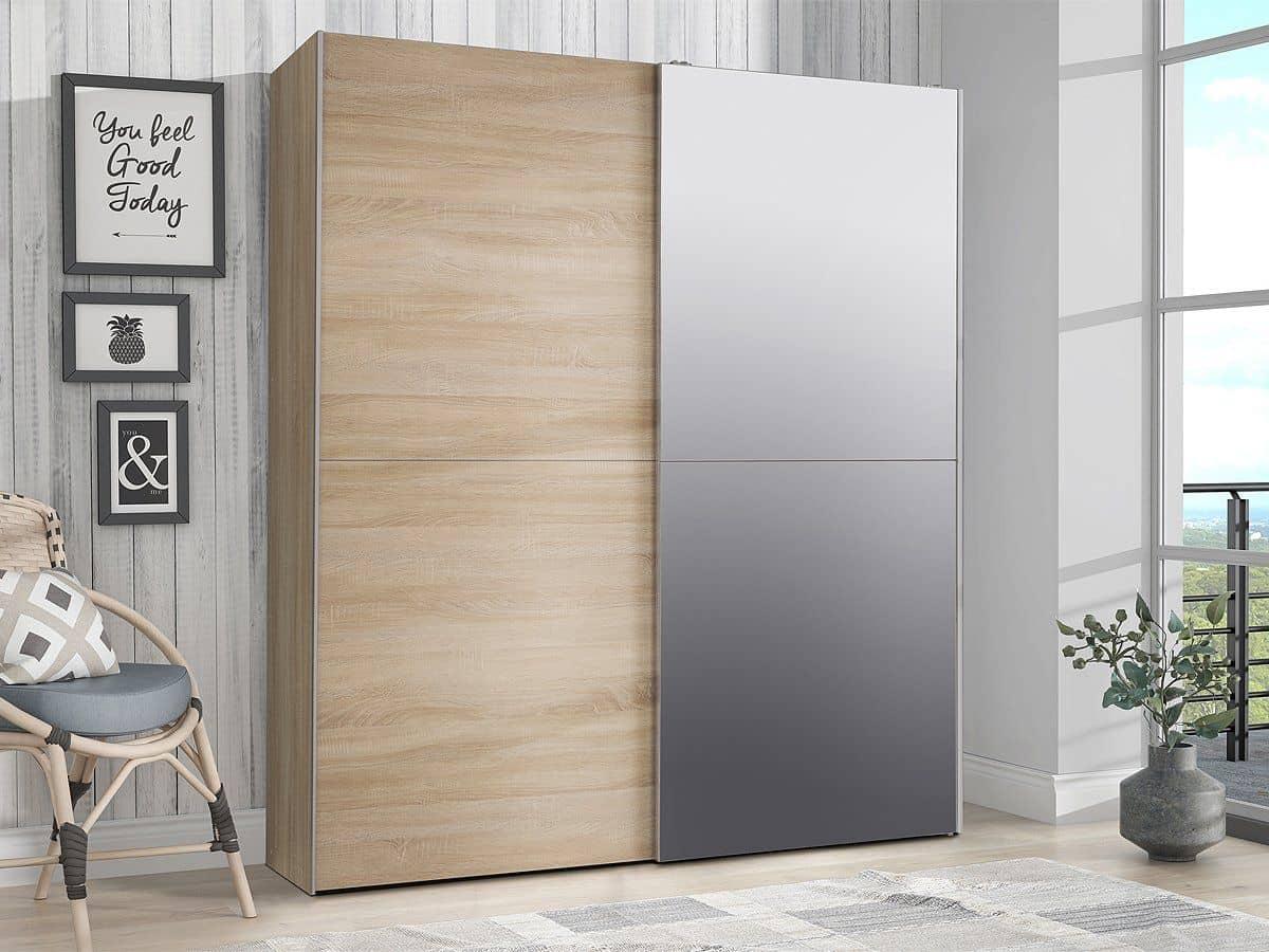 Schwebetürenschrank Sonoma Eiche 170 cm - WHITE KISS