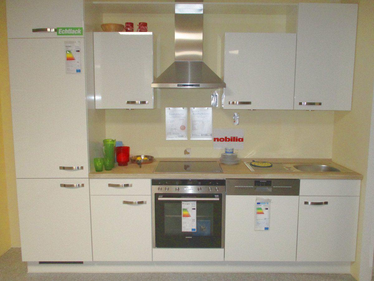 Küchenzeile 280 cm Lack Hochglanz - Weiß -FLASH
