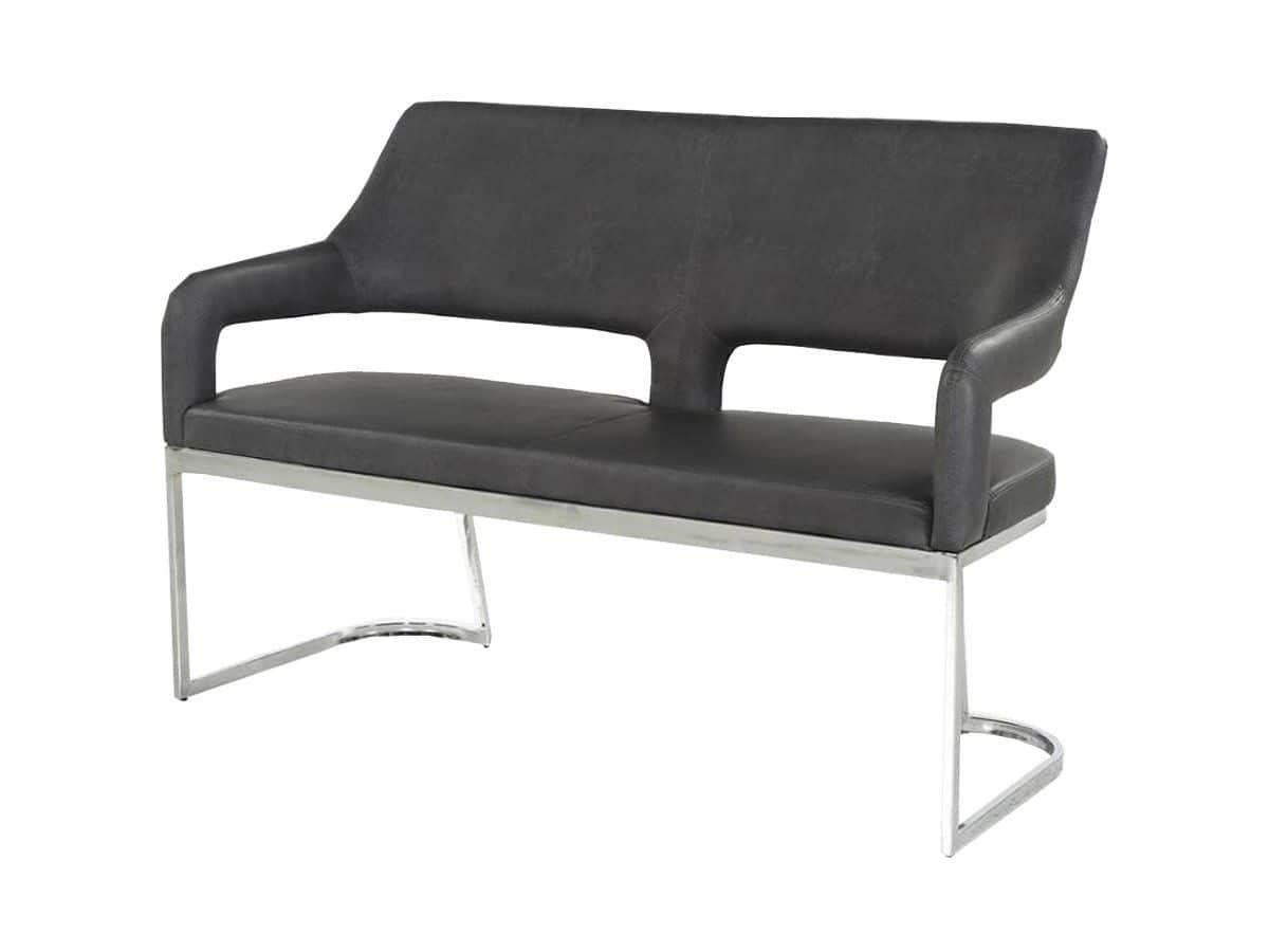 Sitzbank mit Rückenlehne 140 cm Lederlook grau Bank - BEATE