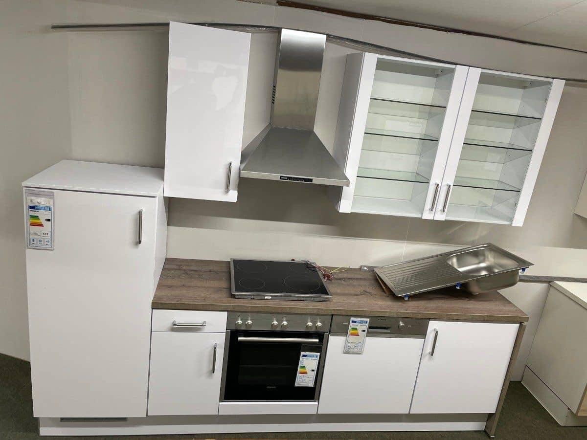 Küchenzeile 280 cm hochglanz - Schneeweiss - ARCTICA