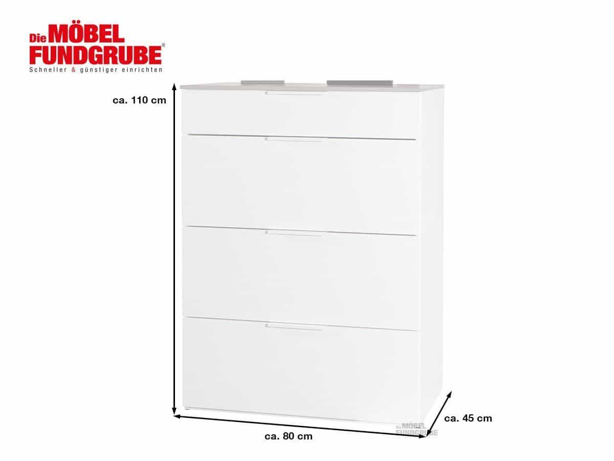 Kommode Betonoptik - weiß mit 4 Schubladen 80 cm x 45 cm - GALAVERNA