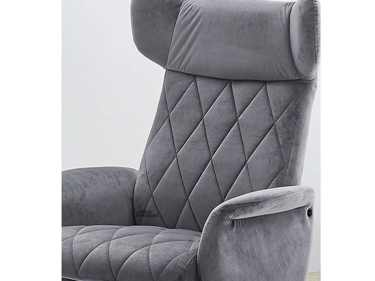 Relaxsessel grau - Samtbezug - drehbar - VERONA