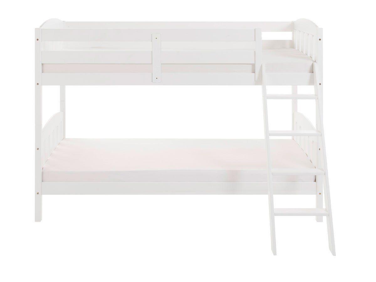Hochbett 90 x 200 cm weiß - Kiefer massiv - Kinderbett - SÖREN