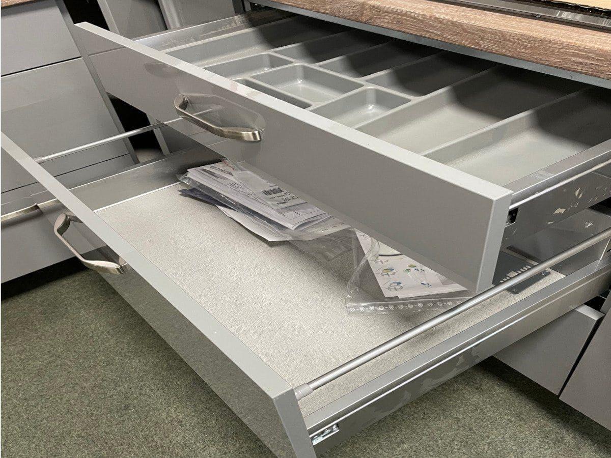 Eckküche 320 x 180 cm Lack Ultra Hochglanz - Mineralgrau - FOCUS