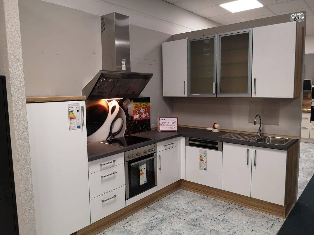 L-Küche  285 x 205 cm Matt - weiß - DELTA