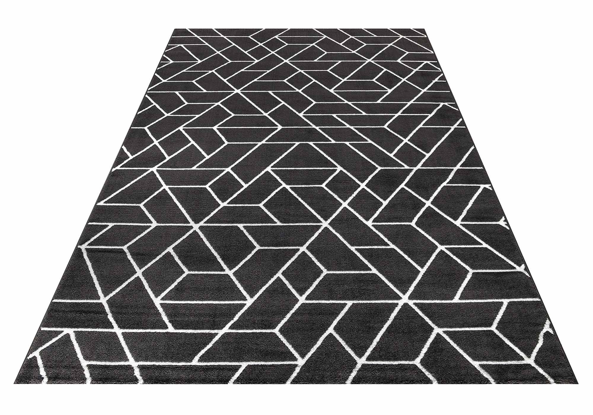 Teppich 80 cm x 150 cm - grau - weiß - Helsinki183