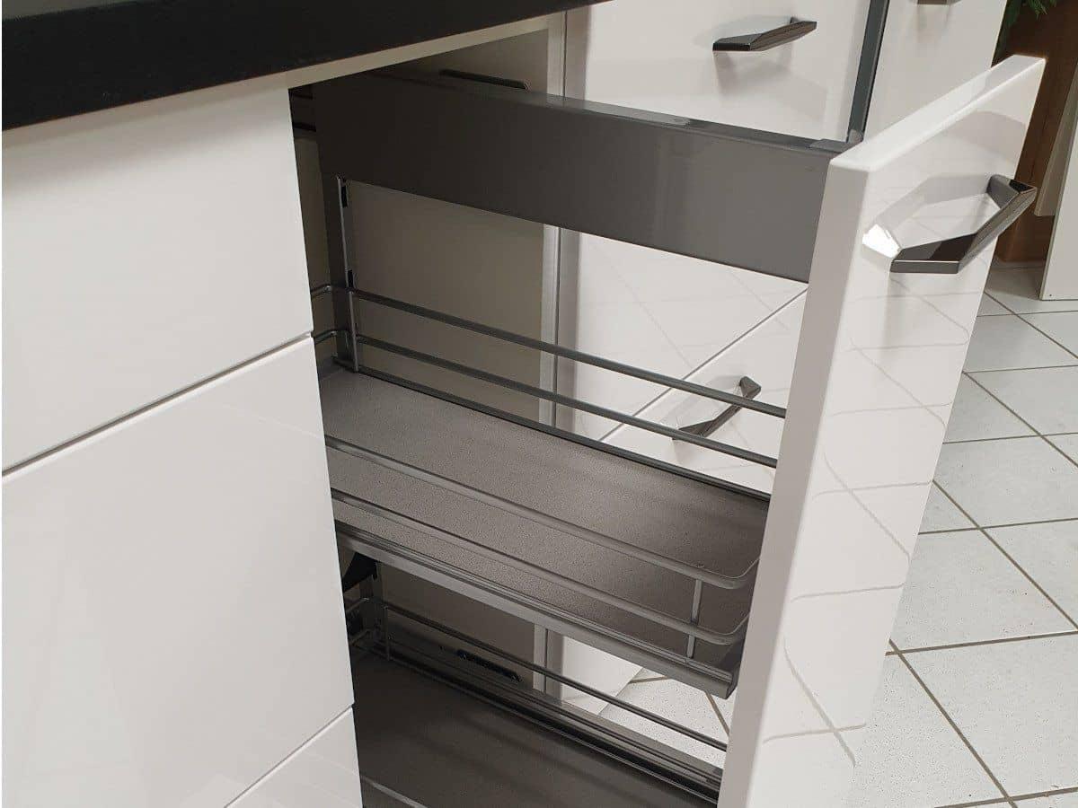 Eckküche 110 x 305 cm Ultrahochglanz Lack - Alpinweiß - LUX