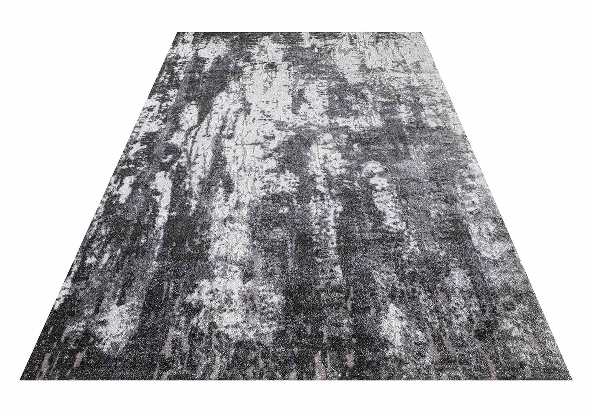 Teppich 80 x 150 cm anthrazit Hoch-Tief-Effekt - Mumbai 130 Grey